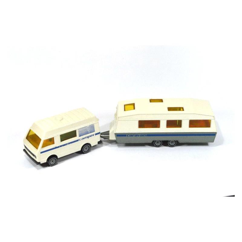 siku 2518 volkswagen lt 28 camper mit caravan online. Black Bedroom Furniture Sets. Home Design Ideas