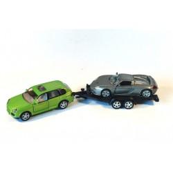 Porsche Cayenne met autotrailer en Porsche
