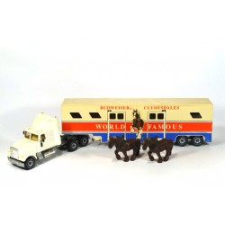 White horse transporter Clydesdales