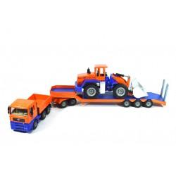 MAN TGA with low loader and wheel loader