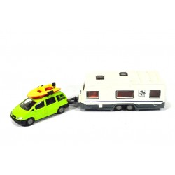 Ford Galaxy with caravan and boat