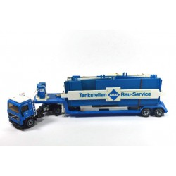 Volvo F10 with low loader and ARAL petrol station