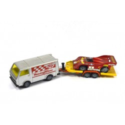 Volkswagen LT28 with trailer and race car