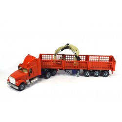 White trailer with crane