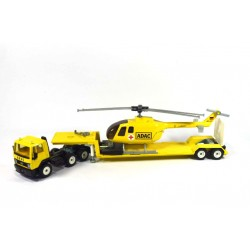 Ford Cargo with low loader and helicopter ADAC