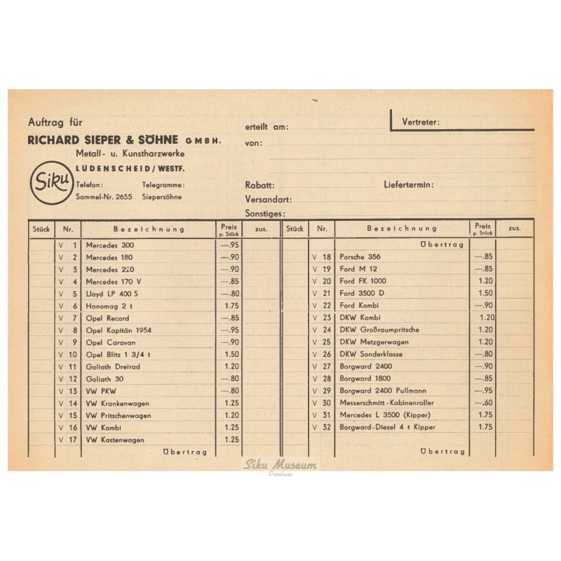 Dealer price list 1954