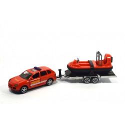 Porsche Cayenne with hovercraft