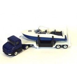 Scania with low loader and boat
